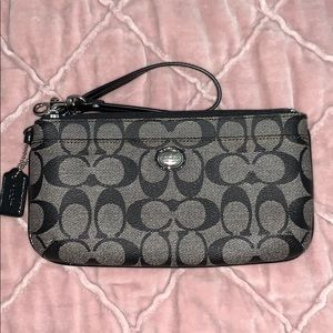 Coach Black Signature Leather Wristlet